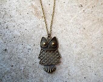 Antique Brass Owl Antique Gold Owl Boho Owl Necklace- Long Owl Necklace