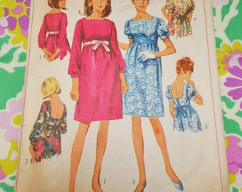 """Simplicity sewing pattern - 1966 - Woman's empire dress - size 14 bust 34"""" - mpn 6785 - used and complete"""