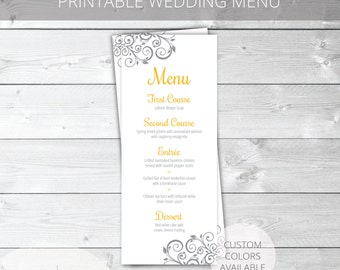 Yellow/Gray Printable Wedding Menu | Floral | Elizabeth Collection | Custom Colors Available