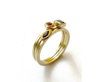 Geometric Stacking Ring, 14k Yellow Gold Ring, Geometric Shapes, Square, Round, Marquise, Geometric Jewelry
