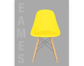 Eames Chair Print, Eames Print, Mid Century Modern Art, Retro Yellow Chair, Eames Poster Print, Eames Decor, Herman Miller Chair, Eames Art