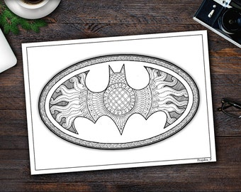 Adult Coloring Page Pages For Adults Printable Batman Zentangle Superhero