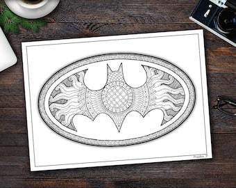 Superman coloring page Zentangle Superhero printable
