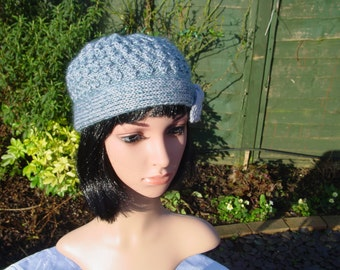 Silk, Cashmere Ladies Hat, Handmade Hat, Hand knitted Hat, Grey Womens Hat, Knit Hat, Ladies Winter Hat, Accessories, Ladies Knit Hat