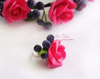 Roses ring. Pink roses ring. Flower ring. Bridal roses ring.Wedding ring. polymer clay roses flowers ring jewelry.
