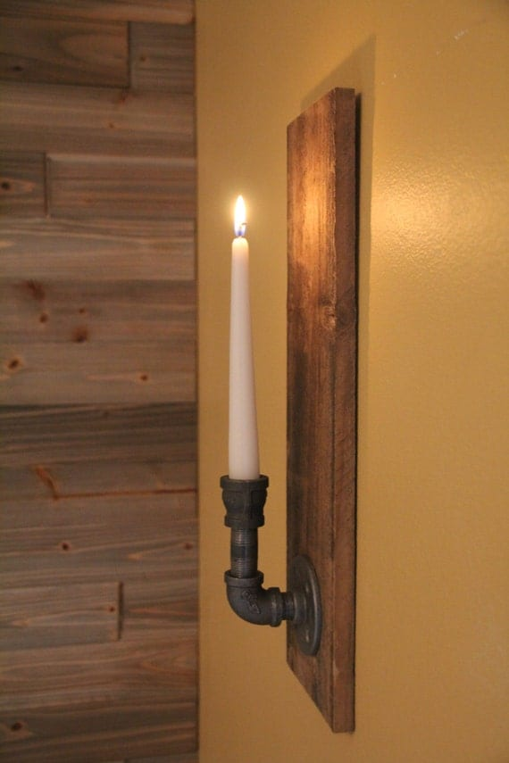 Industrial Candle Wall Sconces : Reclaimed Rustic Wood Candle Wall Sconce Industrial