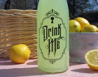 Alice In Wonderland Drink Me Swing Top Glass Bottle