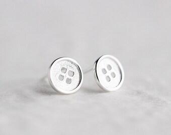 Button Stud Earrings,Sterling Silver Earrings,Button Studs,Dainty Earrings,Adorable Earrings,Minimalist Earrings,Gift For Her,Button Jewelry