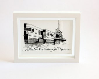 Framed print illustration of the Pan Pacific Auditorium in Los Angeles black and white art of Hollywood building