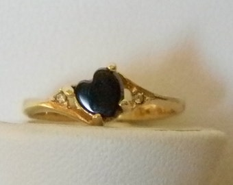 18 K G.E. S/A Gold Black Heart Faux Diamond Ring - Size 7
