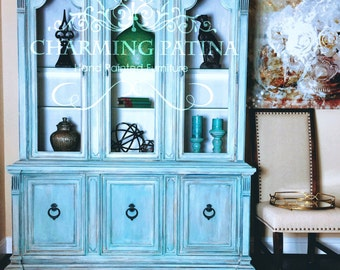 SOLD - Blue China Cabinet: Drexel French Country Buffet Hutch