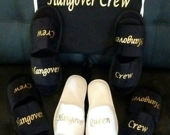 Bridesmaid Slippers - Hangover Crew - Bride Slippers - Personalized Slippers - Girls Night Out Slippers - Slippers- Bachelorette Slippers