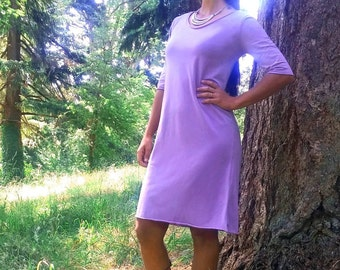 SALE ** Sol Dress, Organic Cotton Jersey, Half Sleeve, Scoop Neck Dress