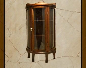 Miniature Cabinet Bow Front Curved Glass Vintage Salesman Sample Table Top or Wall