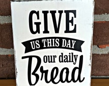 Give Us This Day Our Daily Bread | Rustic Wood Blocks | Home Decor | Bible Verse Decor