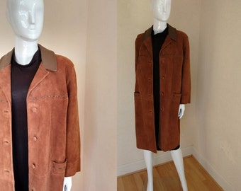 Stunning Vintage 1960's Brown Suede Mod Coat Jacket  made by the Suede Centre