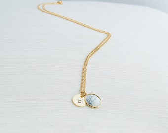 Gold Initial Necklace & Marble Charm, Marble Necklace, Personalised Jewellery, Gold Plated Jewellery, Bridesmaid Necklace