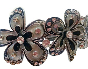 New  Art Deco Silver And Black With Rhinestone Floral 3 1/2'' Hair Barrette
