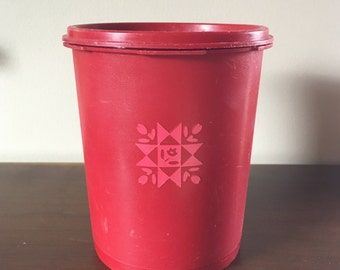 Red Tupperware Canister