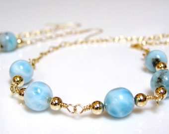 Larimar Necklace and Earrings - Aqua Larimar with 14K Gold Fill, Aqua and Gold, Aqua Stone / Gemstone with 14K GF Necklace Set