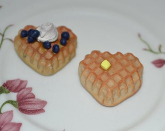 "2 waffles heart-shaped with butter or blueberries and whipped cream for 18"" dolls such as American Girl and My Generation"