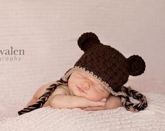 Bear Ear Flap Hat, Crochet Bear Hat, Ear Flap Hat, Baby Boy Hat, Baby Girl Hat, Crochet Baby Hat, Newborn Baby Hat, Newborn Prop, Baby Hat