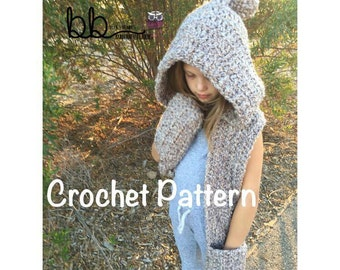 Hooded Scarf Warmer - PATTERN ONLY - Crochet - Size Small (toddler), Medium (child) and Large (Adult)