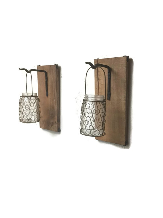 Wall Sconce With Wire : Wall Sconce Pair Chicken Wire Glass Jars Wood by EllaMurphyDesigns