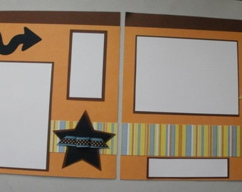 2 Premade 12 x 12 Scrapbook Pages- Boy Themed