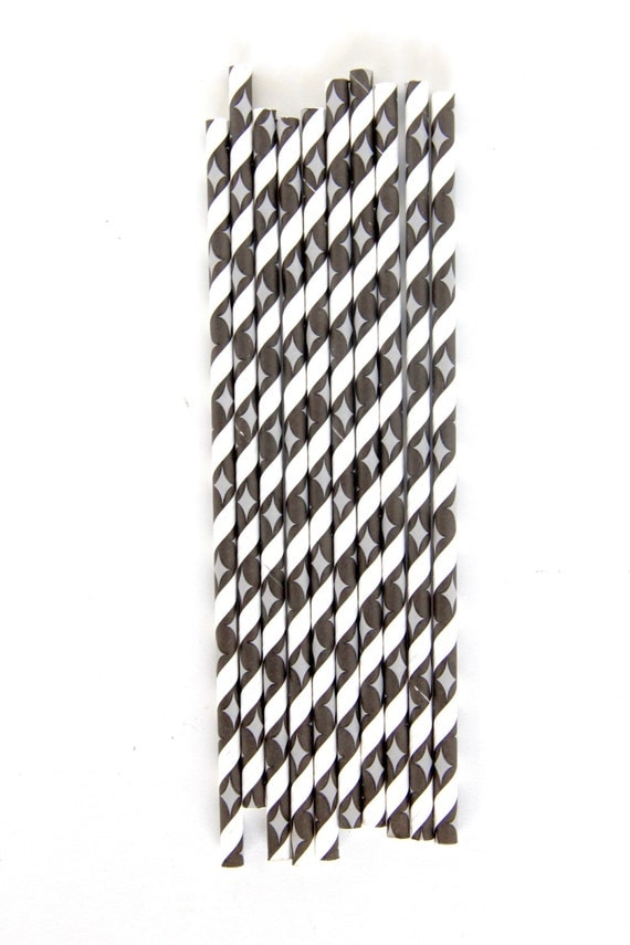 CLOSEOUT SALE Black and White Stripe Diamond Straws 15 Count