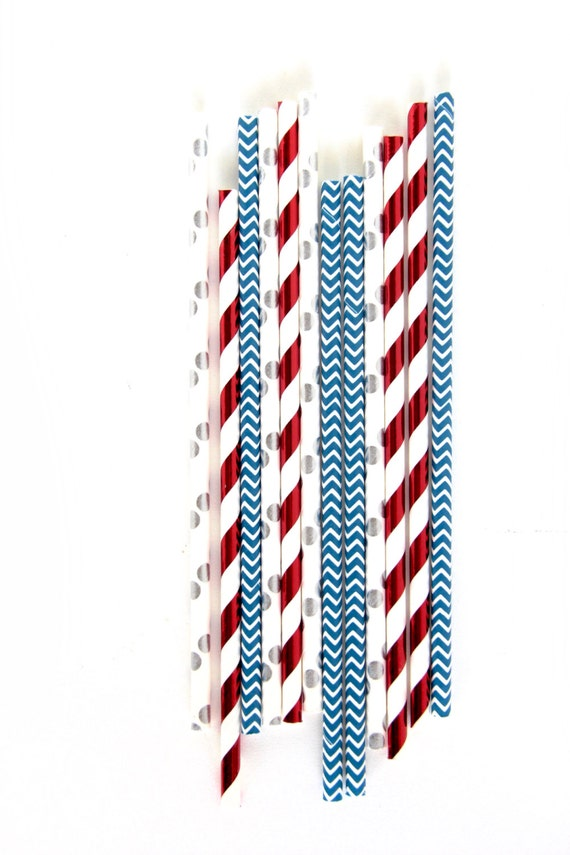Evening Sparklers Straw With Gold Flag, Red White Blue Paper Straw, Gold Straw Flag, 4th of July, Red White and Blue, Silver