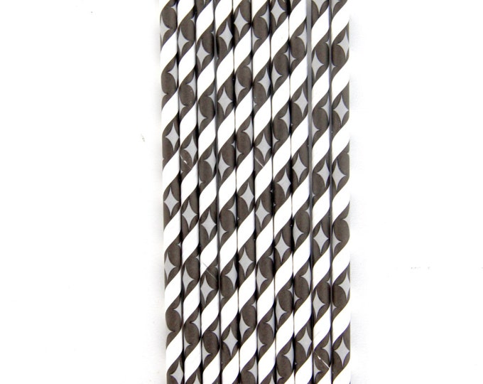 CLOSEOUT SALE Black and White Stripe Diamond Straws 15 Count
