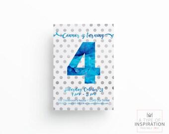 Printable party invitation, Party invite, Birthday party, Watercolor invite, Customizable invitation,  first birthday, diy invitation