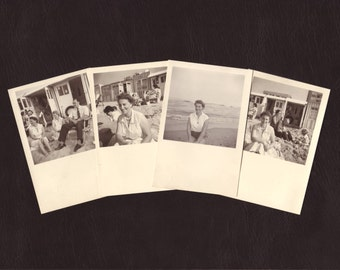 Holiday at the beach - Set of 4 - Woman, family, sea, vintage photo, picture, snapshot, 1955 - Collectible vernacular photographs (B453)