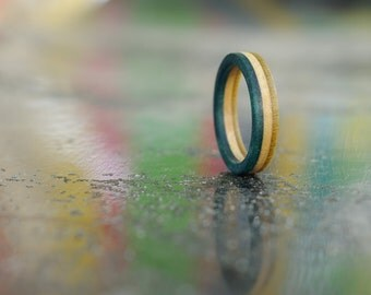 RECYCLED ring from a used turquoise blue and yellow SKATEBOARD (wood)