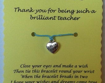 Teacher Wish Bracelet, Thank you Card, Teacher gift, Charm bracelet, Thank you gift, Teacher card, String Bracelet, Cord Bracelet, Keepsake