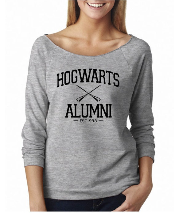 HOGWARTS ALUMNI - Heather Gray Wide-Neck - Ladies' Terry Raw-Edge 3/4-Sleeve