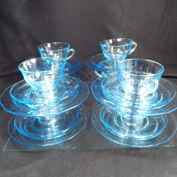 Blue Glass cup saucers and salad plates-Fostoria Azure Fairfax cup saucer and salad plate-Coffee cups and plates