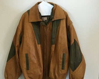 Tan/orange Leather Jacket Size M/L