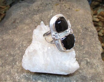 BG-017 ring Silver 925 (sterling) and fine silver with two onyx stone Transport free