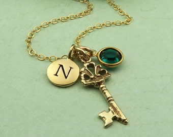 Personalized Key Necklace, Handmade Jewelry Gifts, Initial Birthstone Necklace, Key Charm Necklaces, Custom Jewelry, Gifts For Her