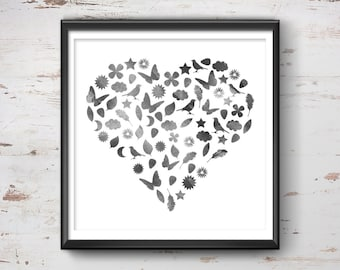 Love Heart Print, Love Poster, Love Wall Art, Love Heart Wall Art, Love Gift, Love Print, Love Quote Print, Wall Art