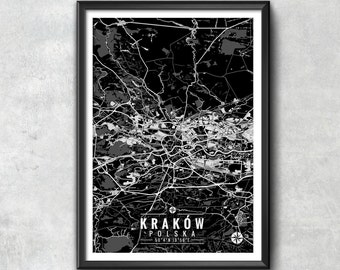 Cracow Poland Map with Coordinates, Cracow Wall Art, Cracow Map, Map Art, Map Print, Cracow Print, Cracow Art, Wall Art
