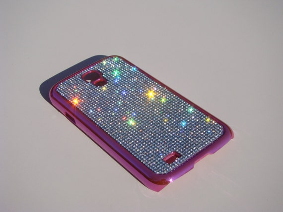 Galaxy S4 Clear Diamond Crystals on Pink Electro Plated Plastic Case. Velvet/Silk Pouch Bag Included, Genuine Rangsee Crystal Cases.