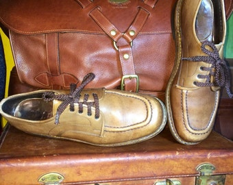 Vintage Calzaturificio Corradetti Light Brown Leather Men's Shoes Size 9M--Made in Italy