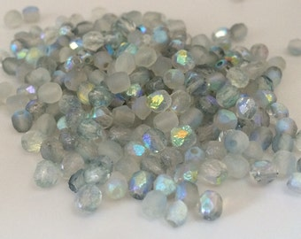 100 pcs 4mm Etched Faceted Round Fire Polished Beads, Crystal Blue Rainbow
