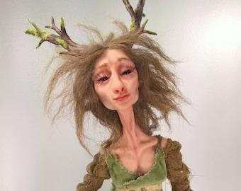 Wood Mother- 26 inch OOAK Polymer Clay Fantasy Faery Art Doll