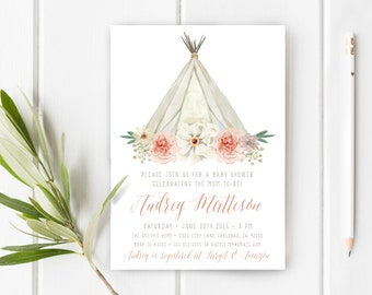 Boho Baby Shower Invitation Girl, Teepee, Unique, Watercolor Flower (307)
