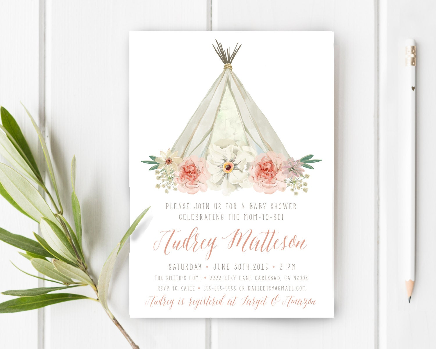 Boho Baby Shower Invites ~ Boho baby shower invitation girl teepee unique watercolor