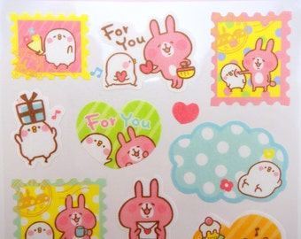 Japanese Kanahei stickers - Piske & Usagi - caption stickers - pink bunny stickers - cute chick stickers - emoji stickers - planner stickers